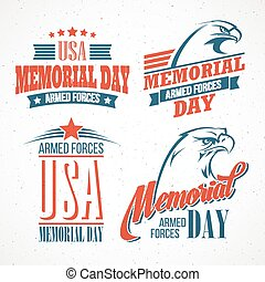 Memorial Day. Typographic card with the American flag and eagle. Vector illustration