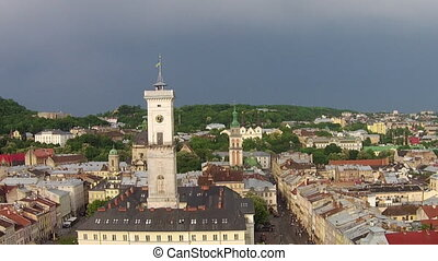 Lviv Town Hall Aerial - Lviv Town Hall stands In the center...