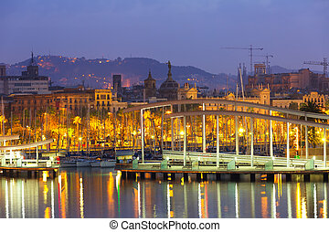 Port Vell at Barcelona in morning. Catalonia - Port Vell at...