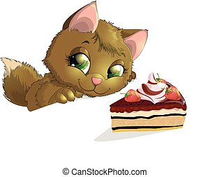 kitten looking at a piece of cake on a white background