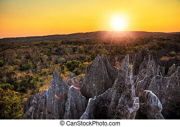 Tsingy de Bemaraha sunset - Beautiful HDR view on the unique...
