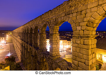 antique roman aqueduct  in  Segovia