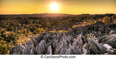 Panoramic Tsingy sunset - Beautiful HDR panorama of the...