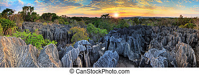 Tsingy panorama sunset - Beautiful 180 degree HDR panorama...