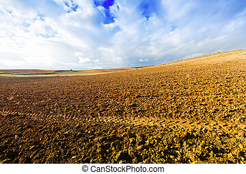 Landscape with idle field in Europe at sunny autumn day