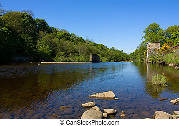 River Wier - Wier across the river south tyne,...