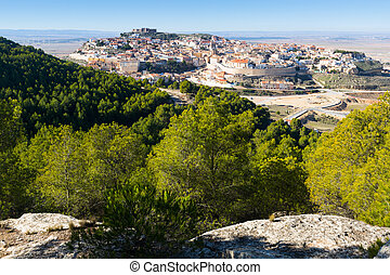 General view of  Chinchilla from hill.  Albacete, Spain