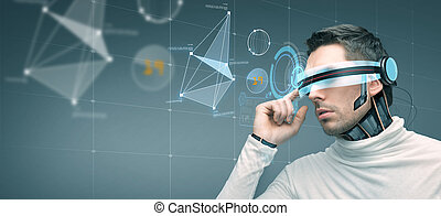 man with futuristic 3d glasses and sensors - people,...