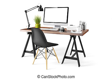 3D, modernos, computador, local trabalho,