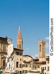 triton, Toscane, piazza, signoria, statue, Florence, della...