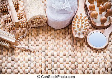 Healthy lifestyle collection of objects on wicker texture...