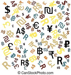 Background of the major world currencies, vector.