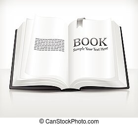 Open book - Open realistic book with text on white, vector...