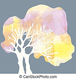 Tree with crone silhouette - watercolor style illustration