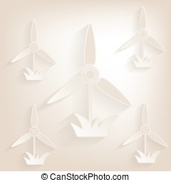 Flat windmill  Icon with shadow