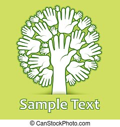 Hands of tree on green color background, vector illustration