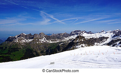 Titlis snow mountains landscape in Engelberg, Lucerne,...