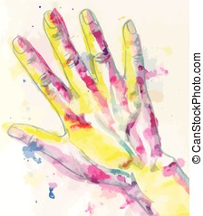 Water-colour drawing of humans hand