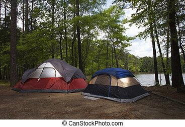Darkened campsite