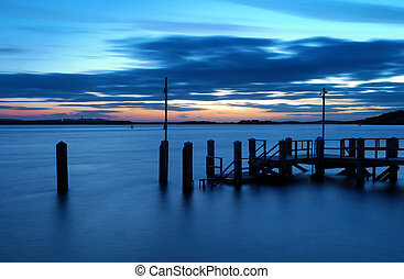 Sandbanks Sunset - Sunset over the islands of Poole Harbour,...