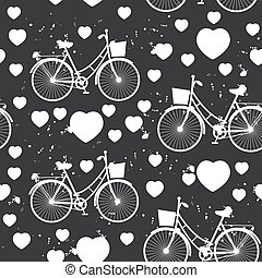 seamless pattern white bike and heart on black background. Vector