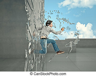 escape - jumping man breaking glass to go outside