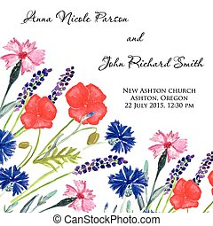 Watercolor painted wedding invitation. Cornflower, lavender,...