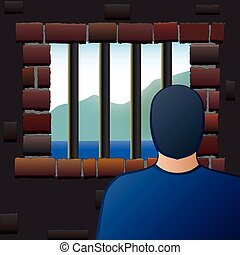 Confinement Prisoner Detainee Man - An arrested man is...