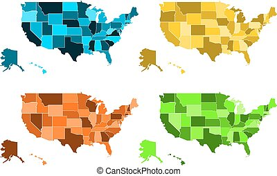 Coloured maps of United States of America - Blank political...