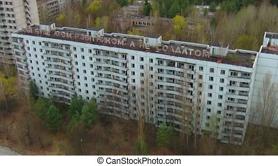 Chernobyl zone Aerial - In the 1970s, the town of Pripyat,...