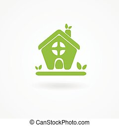 Eco house with green leaves House logo Ecological house icon...