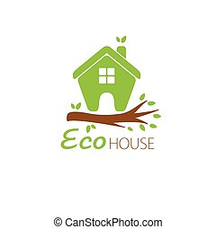 ecological house icon - Small green eco house on the tree...