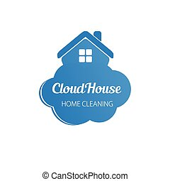 cloud skyscrapers business logo - Small blue house on the...