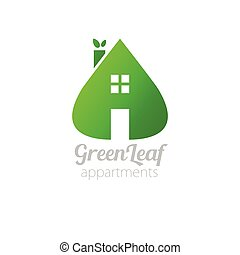 ecological house icon - Eco house with green leaves. House...