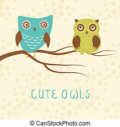 Vector backgrounds with couple of owls on the branch