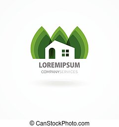 Eco house with green leaves. House logo. Ecological house...