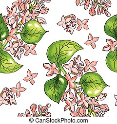 Seamless pattern with watercolor flowers Vector Hand drawn -...