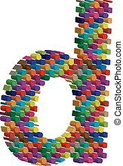 3d font letter d - Colorful three-dimensional font letter d