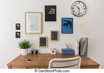 Desk prepared to work - Wooden well arranged desk prepared...