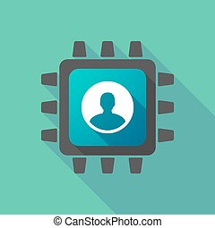 CPU icon with a male avatar - Illustration of a CPU icon...