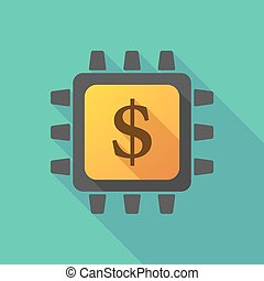 CPU icon with a currency sign - Illustration of a CPU icon...