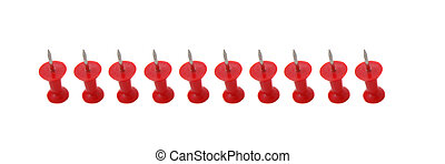 Line of red push pins
