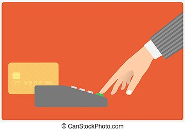 Flat design style illustration. Hand holding a credit card...
