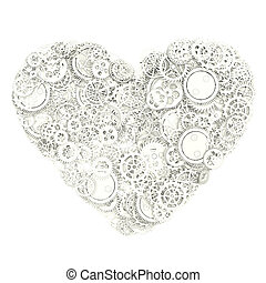 Heart made from gears 3d illustration