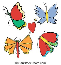 Set of butterflies. Insects. Vector illustration.