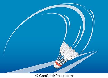 shuttlecock on badminton game - shuttlecock drifted down...