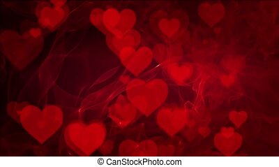 Abstract Hearts on red background