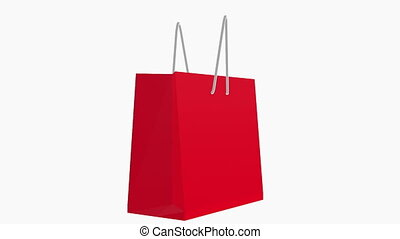 Red shopping bag on white