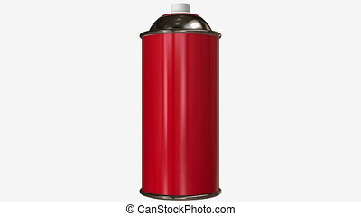 Rotating Red color spray can