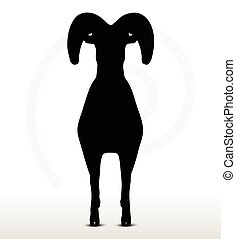 big horn sheep silhouette in standing pose - Vector Image -...